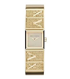 A|X Armani Exchange Womens Goldtone Polished Stainless Steel Half Bangle Watch