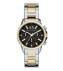 A|X Armani Exchange Women's Two-Tone Polished Stainless Steel H-Link Bracelet Watch