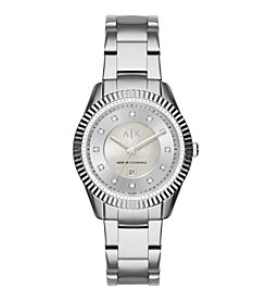 A|X Armani Exchange Womens Silvertone Polished Stainless Steel Y Link Bracelet Watch