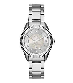 A|X Armani Exchange Womens Silvertone Polished Stainless Steel Y Link Bracelet Watch