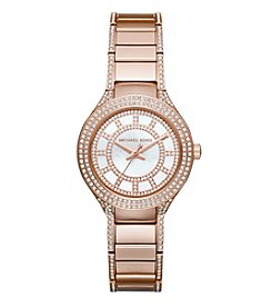 Michael Kors® Women's Rose Goldtone Mini Kerry Watch with White Mother of Pearl Dial