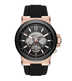 Michael Kors® Rose Goldtone Dylan Watch with Black Silicone Straps