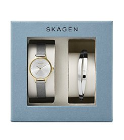 Skagen Denmark Women's Anita Watch Box Set in Two Tone Mesh Bracelet