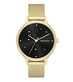 Skagen Denmark Women's Anita Watch In Goldtone With Mesh Bracelet And Black Dial