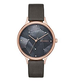 Skagen Denmark Women's Anita Watch In Rose Goldtone With Grey Leather Strap And Mother Of Pearl Dial