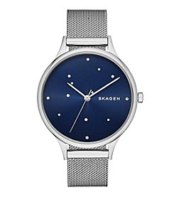 Skagen Denmark Women's Anita Watch In Silvertone With Mesh Bracelet And Dark Blue Dial