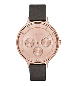 Skagen Women's Anita Multifunction Watch in Rose Goldtone with Gray Leather Strap