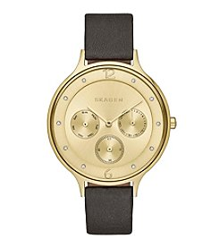 Skagen Women's Anita Multifunction Watch in Goldtone with Black Leather Strap