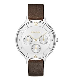Skagen Women's Anita Multifunction Watch in Silvertone with Burgundy Leather Strap