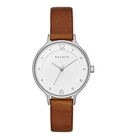 Skagen Women's Anita Watch in Silvertone with Brown Leather Strap