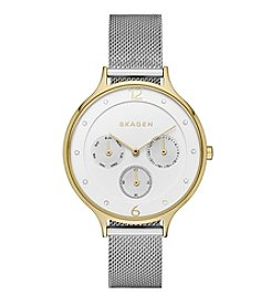 Skagen Denmark Womens Anita Multifunction Watch in Two Tone with Mesh Bracelet