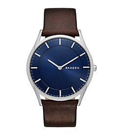 Skagen Denmark Men's Slim Holst Watch In Silvertone With Dark Brown Leather Strap And Dark Blue Dial