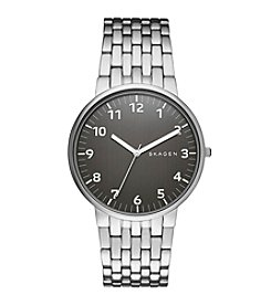Skagen Denmark Mens Ancher Watch in Silvertone with Metal Link and Gunmetal Grey Dial
