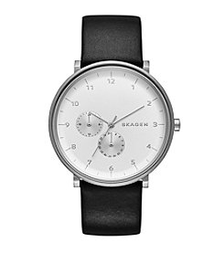 Skagen Denmark Men's Hand Watch in Silvertone with Black Leather Strap