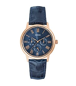GUESS Men's Rose Goldtone And Blue Croco Leather Strap Watch