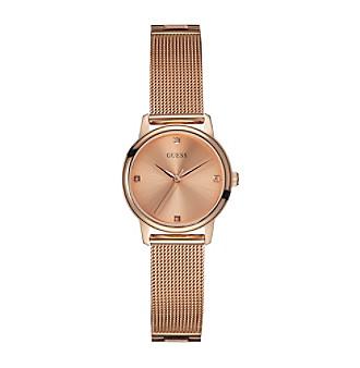 GUESS Women's Rose Goldtone Mesh Bracelet Watch