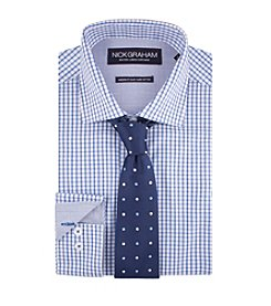 Nick Graham® Men's Checkered Dress Shirt With Dot Tie Set