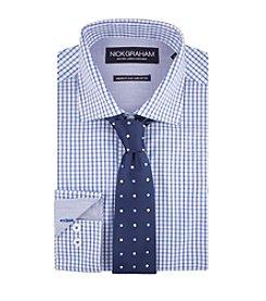 Nick Graham® Men's Checkered Dress Shirt With Dot Tie Set