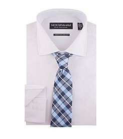 Nick Graham® Men's Solid Dress Shirt And Plaid Tie Set
