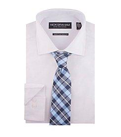 Nick Graham® Men's Solid Dress Shirt And Plaid Tie Set