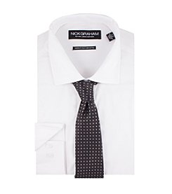 Nick Graham® Men's Solid Fitted Dress Shirt With Dot Tie Set
