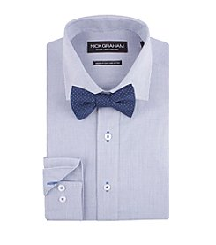 Nick Graham® Men's Micro Check Dress Shirt With Dot Bow Tie