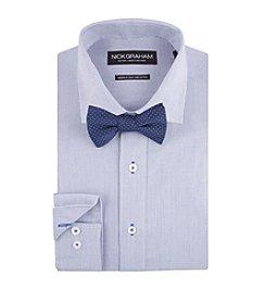 Nick Graham® Men's Micro Check Dress Shirt With Dot Bow Tie