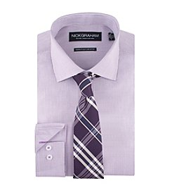 Nick Graham® Men's Micro Check Dress Shirt With Plaid Tie Set
