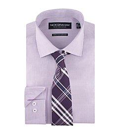 Nick Graham® Men's Micro Check Dress Shirt With Plaid Tie Set