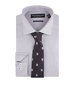 Nick Graham® Men's Micro Check Fitted Dress Shirt with Crest Tie