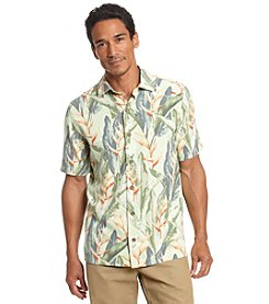 Paradise Collection Men's® Short Sleeve Bird Of Paradise Print Silk Button Down