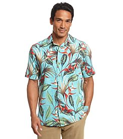 Paradise Collection Men's ® Short Sleeve Silk Bird Of Paradise Button Down