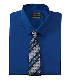 Alexander Julian® Men's Regular Fit Solid Dress Shirt & Tie Set