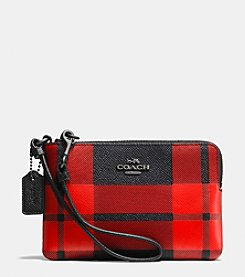 COACH CORNER ZIP WRISTLET IN PLAID