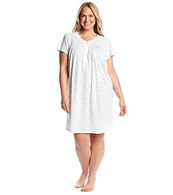Miss Elaine® Printed Henley Nightgown
