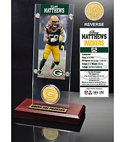NFL® Green Bay Packers Clay Matthews Ticket & Bronze Coin Desktop Acrylic