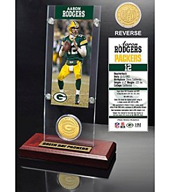 NFL® Green Bay Packers Aaron Rodgers Ticket & Bronze Coin Desktop Acrylic