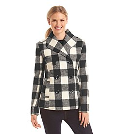 Rampage® Plaid Basic Peacoat