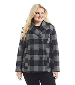 Rampage® Plus Size Plaid Basic Peacoat