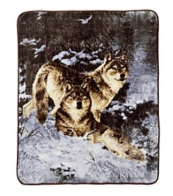 Ruff Hewn Wolf Wild Life Photo Real Throw