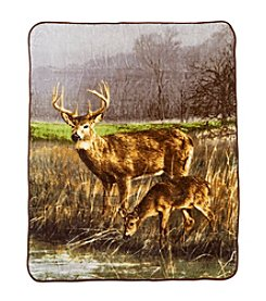 Ruff Hewn Deer Wild Life Photo Real Throw