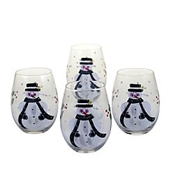Certified International Snow Pals Set Of 4 Stemless Wine Glasses