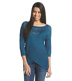 Oneworld® Embellished Top With Envelope Hem