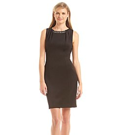 Jessica Simpson Jeweled Crepe Sheath Dress