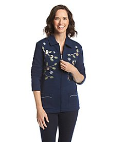 Breckenridge® Point Collar Embellished Fleece Cardigan