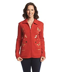 Breckenridge®Point Collar Embellished Fleece Cardigan
