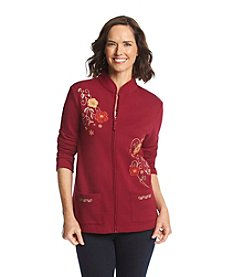 Breckenridge® Mandarin Collar Embellished Fleece Cardigan