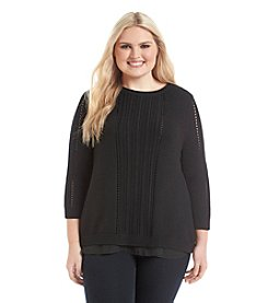 Lucky Brand® Plus Size Swiss Dot Sweater