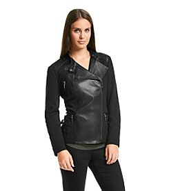 ruff hewn GREY Faux Leather Moto Jacket