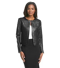 Tahari ASL® Quilted Faux Leather Jacket